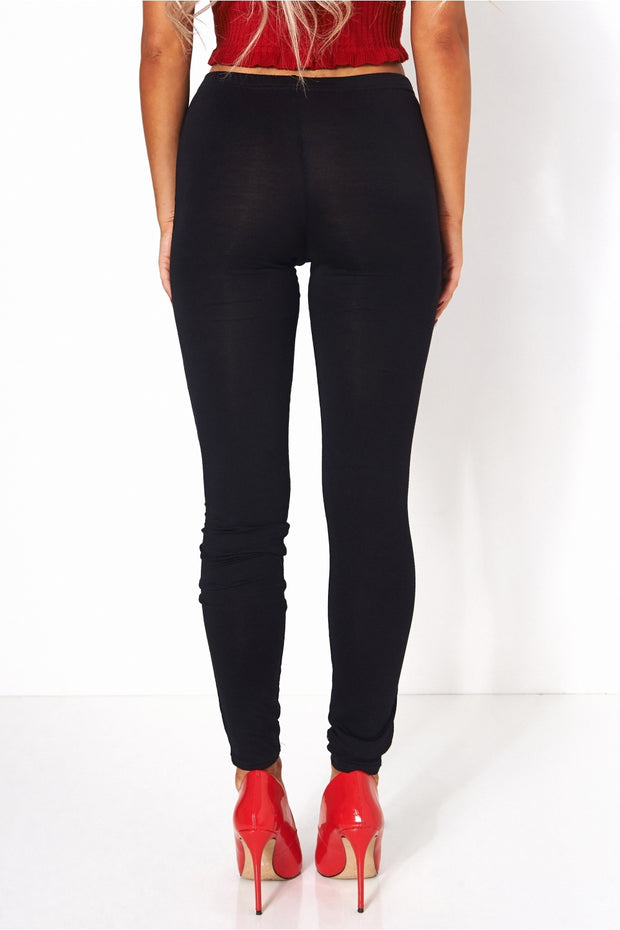 Black Basic Jersey Leggings