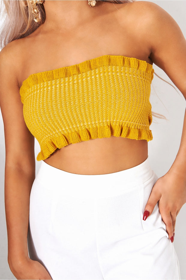 Mustard Strapless Bandeau Top