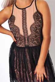 Black Lace Sleeveless Shift Dress