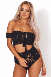 Black Bardot High Waisted Crochet Bikini
