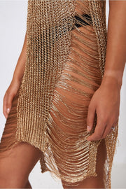 Ibiza Gold Metallic Crochet Dress