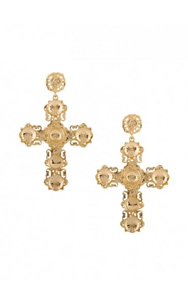 Stella Oversized Large Gold Cross Earrings