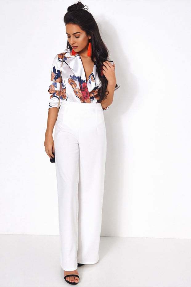 White High Waisted Wide Leg Trousers