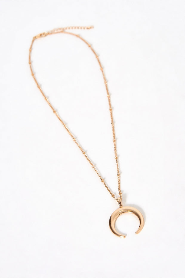 Half Moon Gold Crescent Necklace