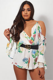 Kiki White Floral Frill Playsuit