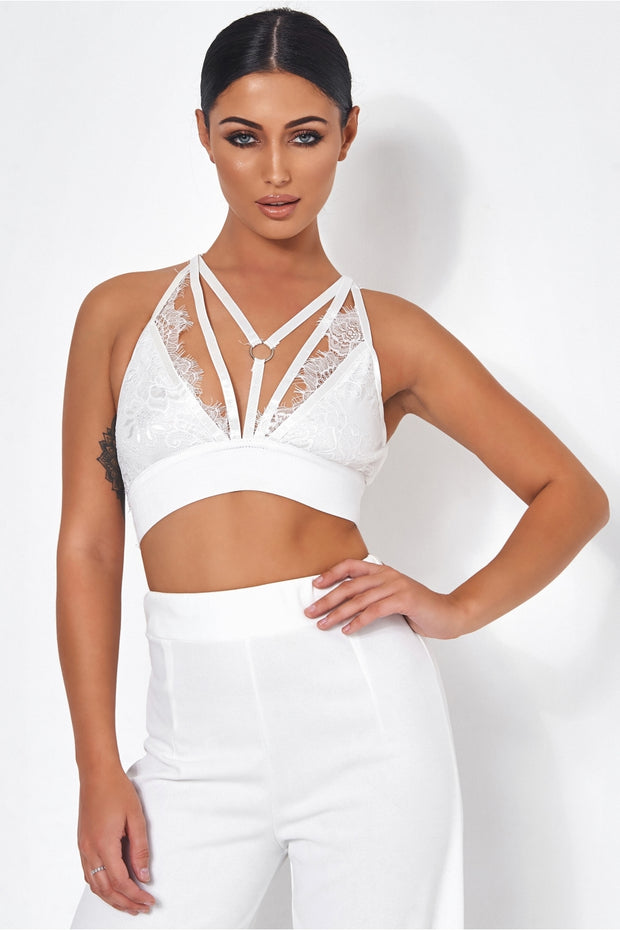 Tallulah White Lace Harness Bralet