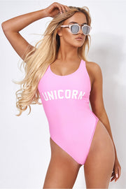 Pink Unicorn Slogan Swimsuit