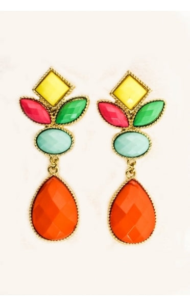 Multicoloured Cluster Drop Earrings