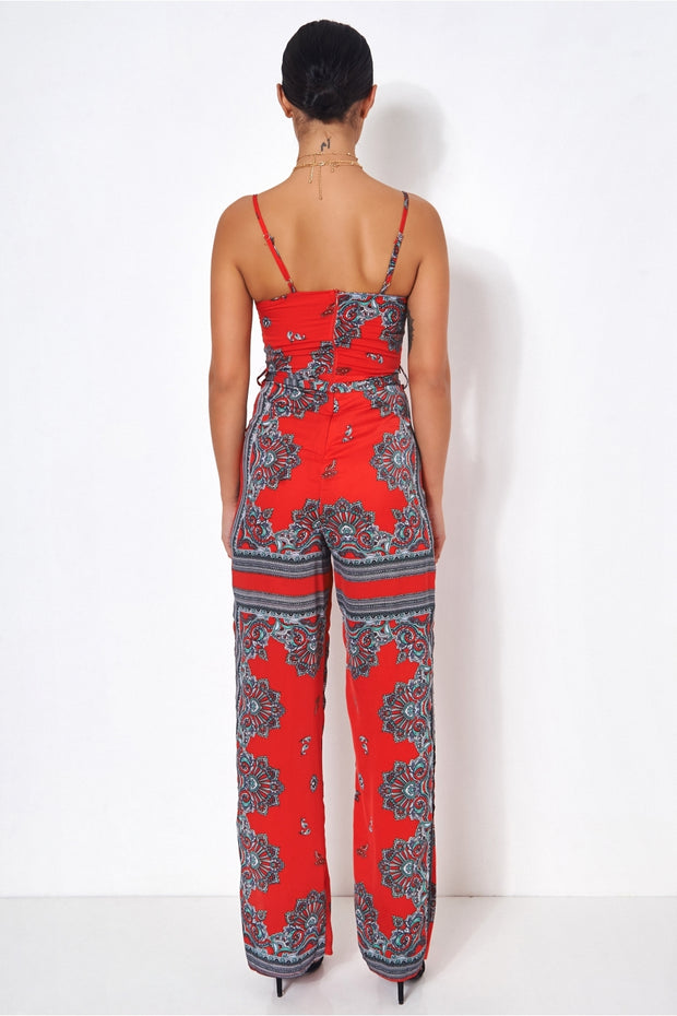 Red Scarf Print Jumpsuit