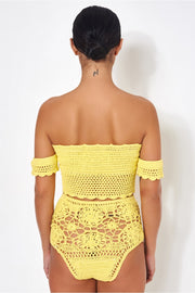Yellow Bardot High Waisted Crochet Bikini