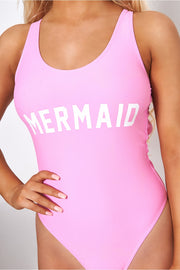 Pink Mermaid Slogan Swimsuit