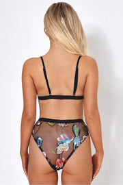 Lilly Floral Embroidered Mesh Knicker Set