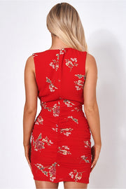 Red Floral Bodycon Dress