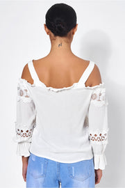 White Lace Trim Cold Shoulder Top