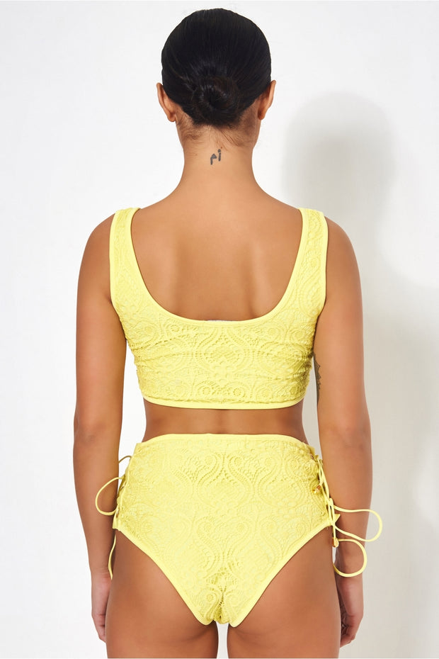 Cici Yellow High Waisted Lace Bikini