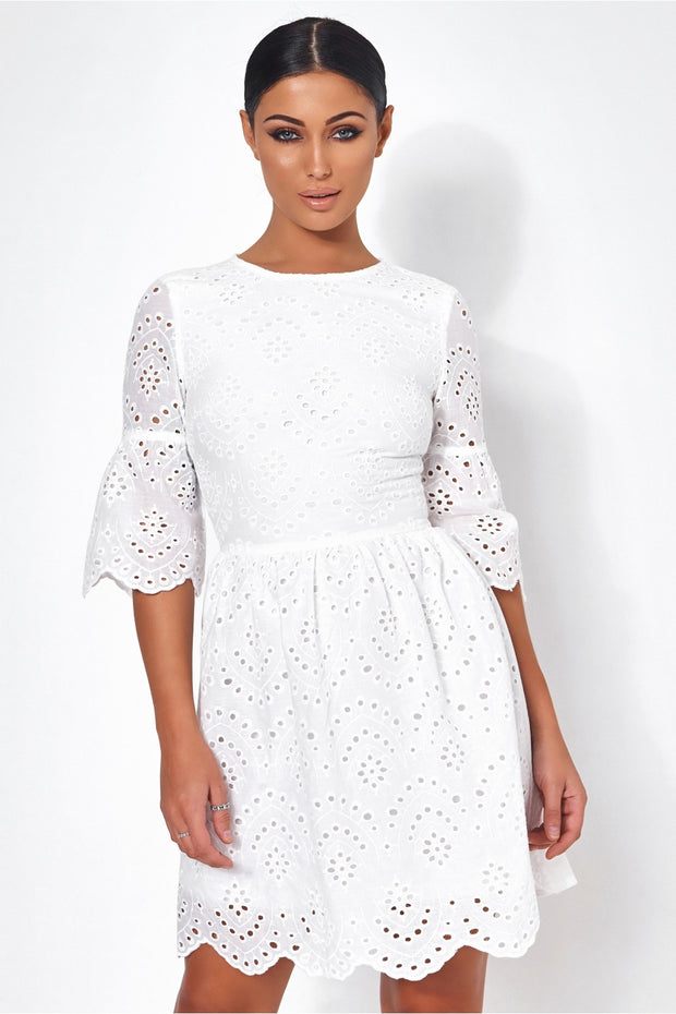 Desri White Broderie Anglaise Shift Dress