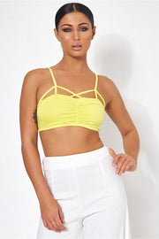 Sisi Yellow Caged Bralet Top