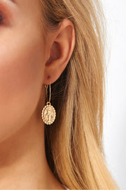 Gold Virgin Mary Hoop Earrings