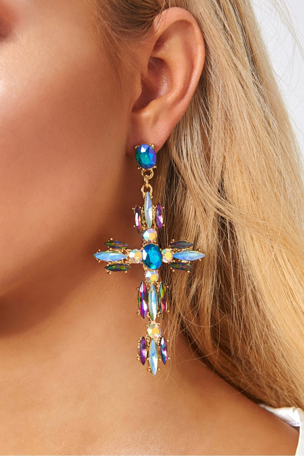 Cosmic Large Diamante Cross Earrings