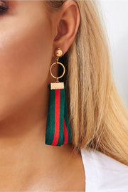 Gisella Red & Green Stripe Earrings