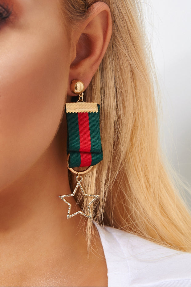 Ariella Red & Green Stripe Star Earrings