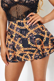 Baroque Chain Skort Shorts in Black