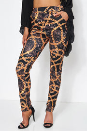 Rocca Baroque Chain Print Trousers in Black