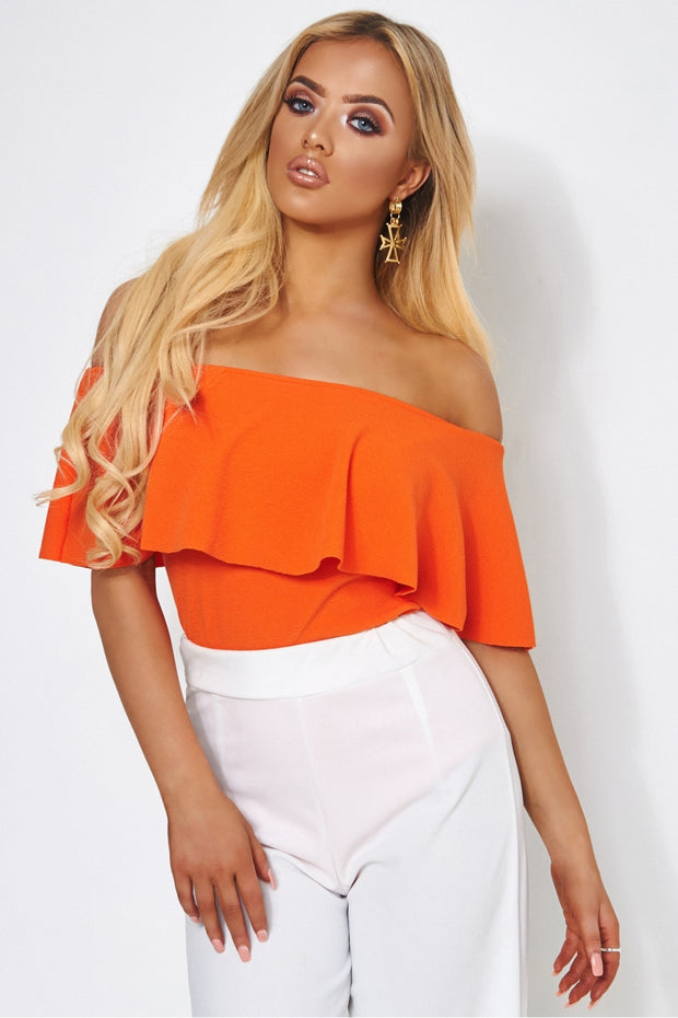 Orange Bardot Frill Bodysuit