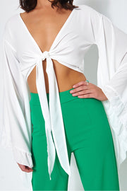 Valentina White Tie Front Wide Sleeve Crop Top
