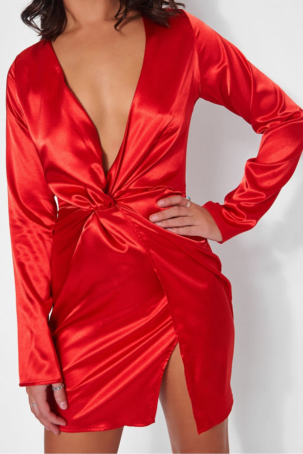 Red Satin Twist Front Mini Dress