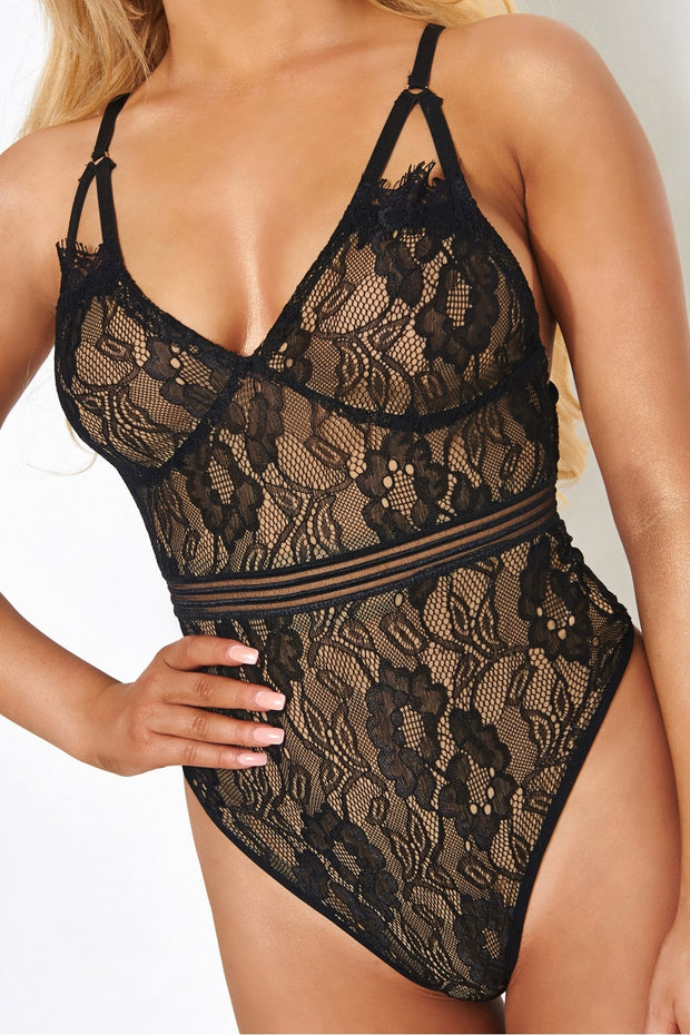 Tiona Black Lace Bodysuit