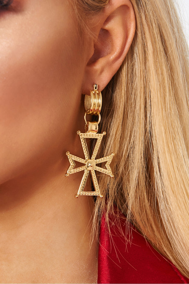 Harper Gold Cross Earrings