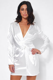 White Satin Twist Front Mini Dress