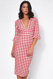 Liv Red & White Gingham Midi Dress
