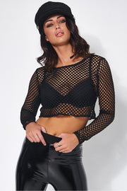 Black Fishnet Long Sleeved Crop Top