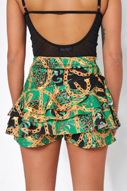 Baroque Chain Skort Shorts in Green