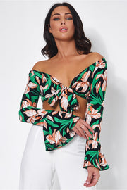 Casablanca Green Floral Front Tie Crop Top