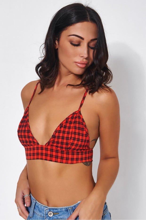 Red Gingham Bralet Top