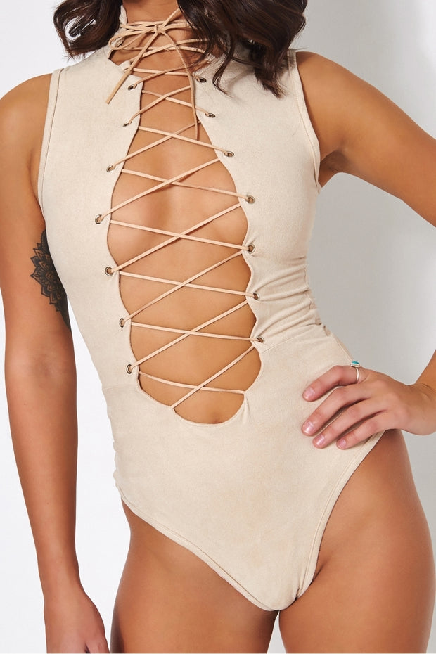 Tito Beige Suede Lace Up Bodysuit