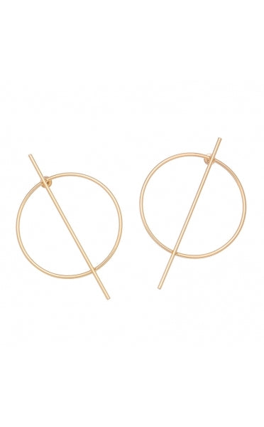 Gold Circle Strike Through Earrings