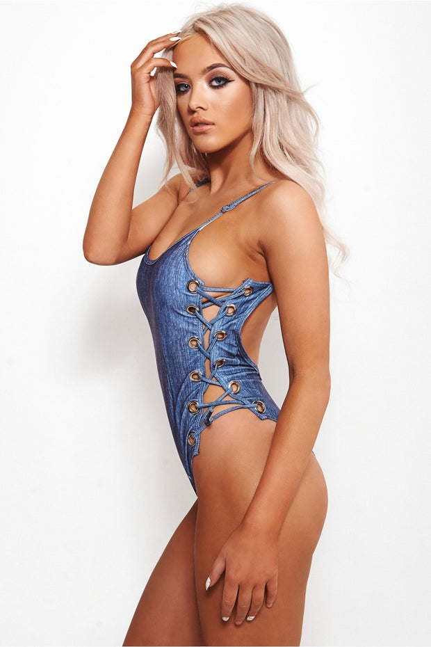 Freya Denim Look Lace Up Swimsuit