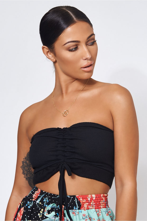 Carly Black Crop Top