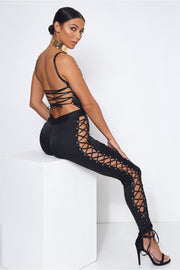 Ophelia Black Satin Lace Up Jumpsuit