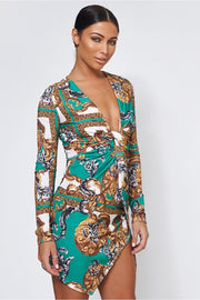 Green Scarf Print Twist Front Mini Dress
