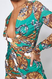 Green Baroque Print Twist Front Mini Dress