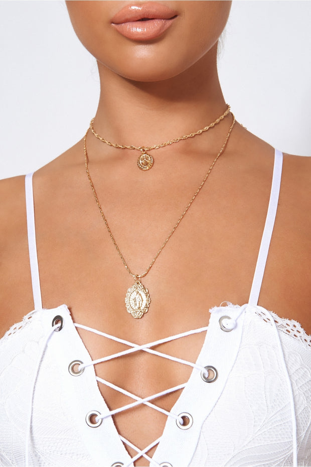 Double Overlay Mary Necklace