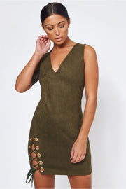 Khaki Suede Lace Up Mini Dress