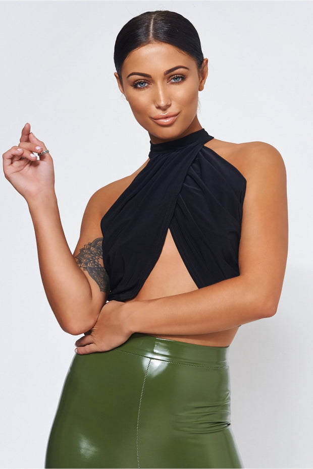 Luca Black Drape Top
