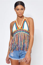 Kali Multicoloured Tassel Crochet Crop Top