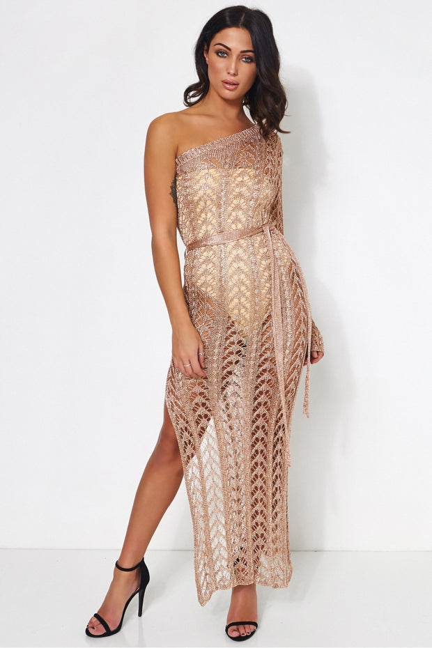 Gina Rose Gold Metallic Crochet Maxi Dress